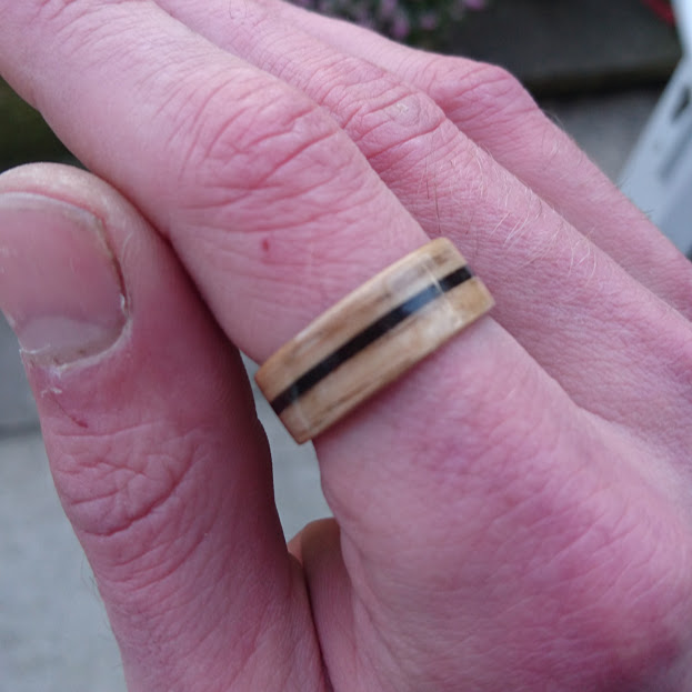 One for the coffee lovers! An oak bentwood ring with an espresso grind inlay